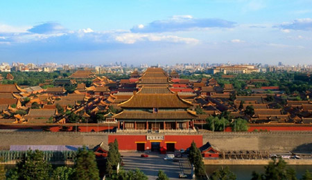 The view of the Forbidden City from Jingshan Park