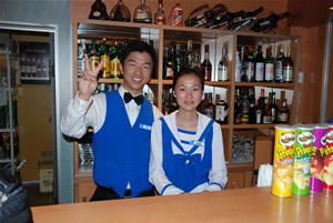 bartenders onboard China Regal Cruises