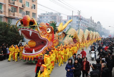Dragon dance parade in Zhejiang, China